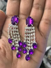 "2.25"" Purple Silver Long Rhinestone Crystal Pageant Drop Big Dangle Earrings"