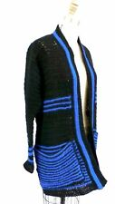 Vintage Womens Sweater Coat Black Blue Stripes Handmade 1970s