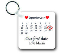 Personalised  Our First Date .Unisub Plastic Keyring Boyfriend/girlfriend