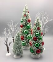 2 Roger's Gardens Bottle Brush Christmas Trees 4 Dept. 56 Frost & Brush Tree