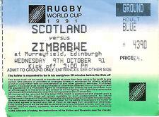 SCOTLAND V ZIMBABWE RUGBY WORLD CUP 1991 TICKET