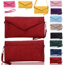 Italian Designer Patent Faux Suede Leather Envelope Clutch Bag Handbag Purse