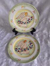 "Mesa International Harmony Garland 9"" Plates Angel Floral Green Trim Set of 2"