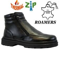 MENS ROAMERS FUR LINED ANKLE BOOTS WARM TWIN ZIP REAL LEATHER WINTER SHOES SIZE