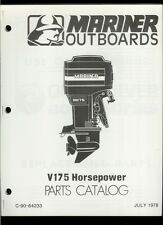Orig 1978 Mariner V175 HP Outboard Motor/Engine Illustrated Parts List Catalog