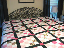 New listing Patchwork Quilt Hand Quilted Shabby Queen 93 x 80 Pink with Green Lattice New