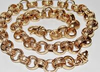 9CT GOLD ON SILVER CHUNKY 22 INCH MEN'S SOLID BELCHER CHAIN - HEAVY - 93.0 grams