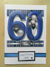 Hand-Made Male 60th Birthday Card -Can be Personalised