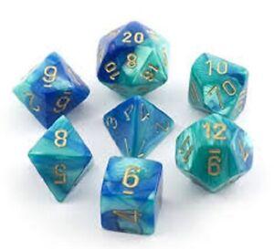 Chessex CHX26459 Gemini Blue Teal & Gold, 7-Die D&D Set & Box - NEW
