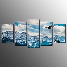 Framed Wall Art Flying Eagle Under Blue Sky Stretched Canvas Painting Print-5pcs