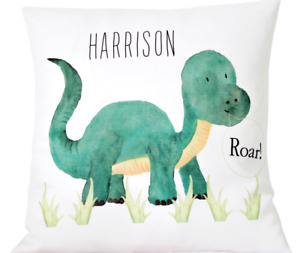 """Personalised Dinosaur - 16"""" white cushion cover Boys bedroom/nursery/gift (A)"""