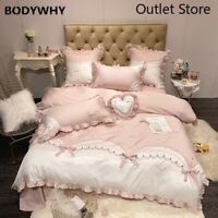 Cute Bow Bedding Set Embroidery Sheet Egyptian Cotton Bed Set Duvet Cover 4/7pcs
