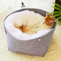 Fluffy Cat Nest Bed Small Puppy Dog Warm Kennel Pet Sleep Igloo Bed with Liner