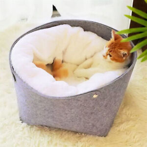 Pet Cat Bed House Nest Warm Cat Sleeping Bed with Removable Soft Blanket Gray