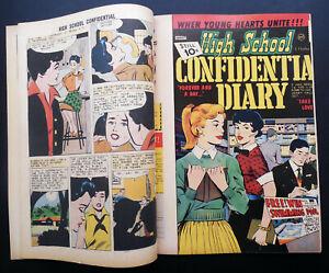 HIGH SCHOOL CONFIDENTIAL DIARY #8 - WEIRD, RARE DOUBLE COVER ERROR - 1961