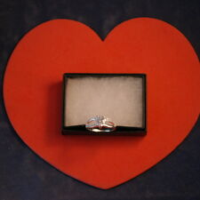 Beautiful 925 Silver Ring With Heart Cat White Sapphire 1.7 Gr. Size P In Box