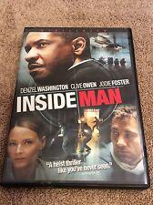 Inside Man. Denzel Washington. DVD. Widescreen. Previously Viewed.