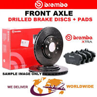 BREMBO XTRA Drilled Front BRAKE DISCS + PADS for PEUGEOT 206 SW 1.4 16V 2003->on