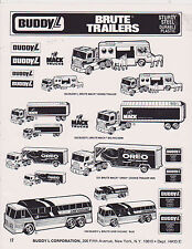 VINTAGE AD SHEET #2463 - 1980s BUDDY L TOYS - BRUTE TRAILERS - GREYHOUND BUS