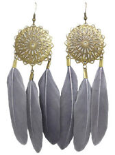 F1421 fashion grey Feather circle chain dangle chandelier earrings jewelry