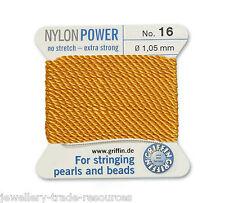 Ámbar amarillo Nylon Potencia sedoso Hilo 1,05 mm Encordar Perlas Y Cuentas Griffin 16