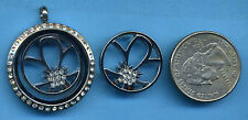 FLOATING LOCKET WINDOW PLATE SILVER FLOWER WITH CRYSTALS FITS LG LOCKETS NEW