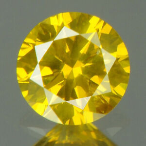 0.25 cts CERTIFIED Round Cut SI2 Golden Yellow Color Loose Natural Diamond 20125