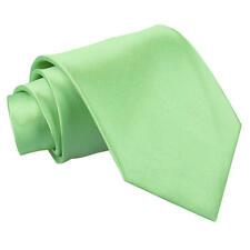 DQT Satin Plain Solid Lime Green Formal Wedding Mens Extra Long Tie