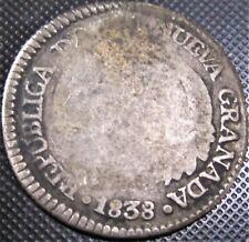 **SCARCE- NUEVA GRANADA** 1838 Colombia 1 Real R.S. KM# 91.1 - Silver Coin