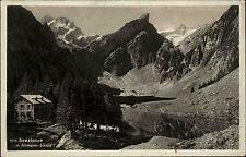 Seealpsee Appenzeller Alpen s/w AK 1935 Blick auf den See mit Altmann Säntis