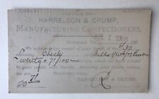 1898 Postcard Harrelson & Crump Manufacturing Confectioners Richmond VA