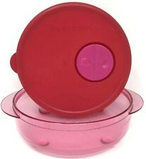 Tupperware Rock N Serve 1 3/4 Cup Soup Bowl Microwave Container Pink Red #4150