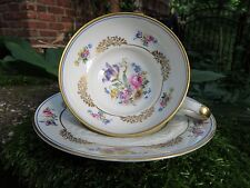 Reichenbach Cup and Saucer Vintage German Floral & Gold Gilt Embossed FREE SHIP