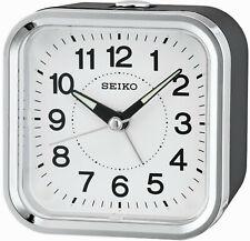 Wecker Quarz Analog Schlummer-Funktion Licht Seiko QHE130K silber/schwarz