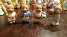 Homco Home Interiors Sports Bears (1408) collectible figurines Lot of 4