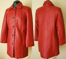 Neiman Marcus Red Quilted Leather Long Jacket Size M Car Coat Blood Red