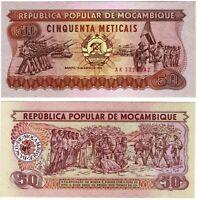 Banknote - 1986 Mozambique, 50 Meticais, P129 UNC, Soldiers on parade