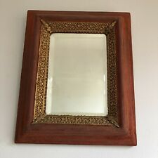 Antique Upholstered Bevel Edged Mirror With Gilded Decor