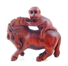 Boxwood Hand Carved Netsuke Sculpture Miniature Monkey Riding Horse #071615