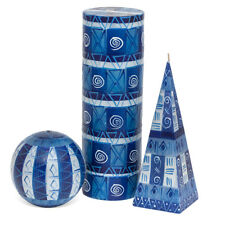 LARGE HAND PAINTED CANDLES - BLUE AND WHITE KAPULA - FAIRTRADE - SOUTH AFRICA