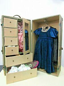 American Girl Wardrobe Trunk w/ Mirror Travel Case Plus Clothes & Accessories