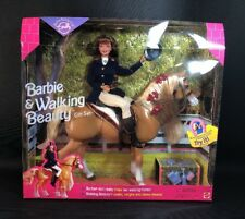 Barbie & Walking Beauty Gift Set Doll & Horse Interactive 1998 Mint NRFB (16)