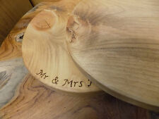 Rustic Wood Wooden Round Wedding Cake Stand Cheese Serving Board Personalised