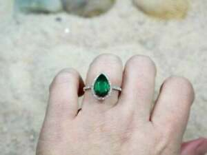 Excellent Pear-Cut Emerald & Diamond Halo Engagement Ring 14K White Gold Finish