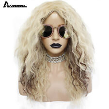 70s 80s Disco Rock Wig Long Kinky Curly Blonde Brown Synthetic Wig for Women