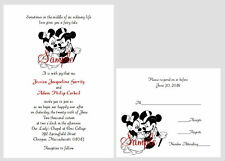 50 Personalized Custom Disney Mickey and Minnie Wedding Invitations Set
