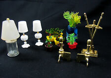 Vintage Dollhouse Miniatures Doll House Lamps Plants Fireplace Tools Andirons