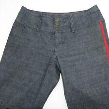 Vtg Tommy Hilfiger 4 Wide Leg Rave Trouser Blue Jeans Red Stripe EDM Snap Front
