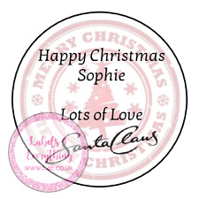 Personalised Merry Happy Christmas Love From Santa Claus North Pole Sticker Tag