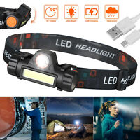 LED Headlamp USB Rechargeable Flashlight Waterproof Head Lamp Torch Camping